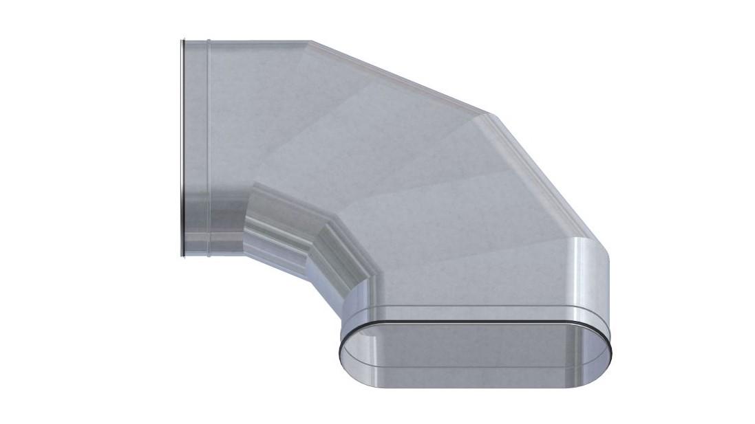 Ovalrohr Bogen horizontal 45°