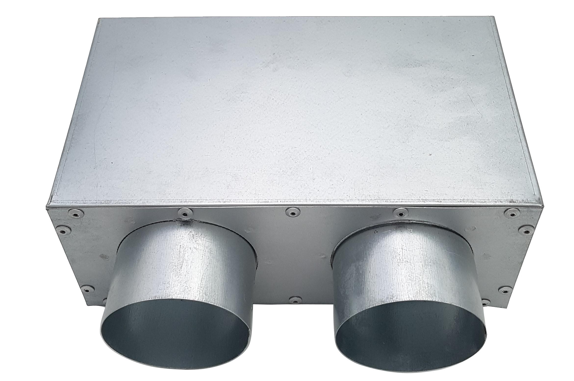 Anschlusskasten für Fußbodengitter, 2x Ø 75 mm Anschluss von unten