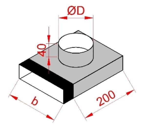 Flachkanal Endstück mit Muffe lang 300 mm auf 200 mm