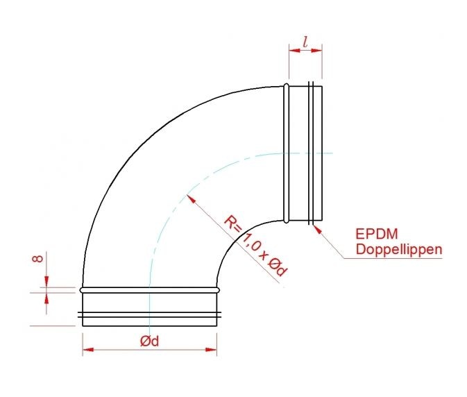 Wickelfalzrohr Bogen 60° Ø 224 mm mit Dichtung verzinkt